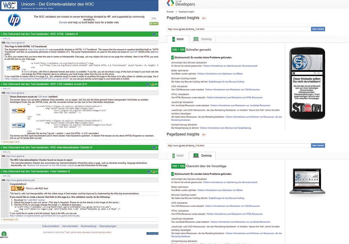 GJweb Webseiten-Bewertung BESTWERTE