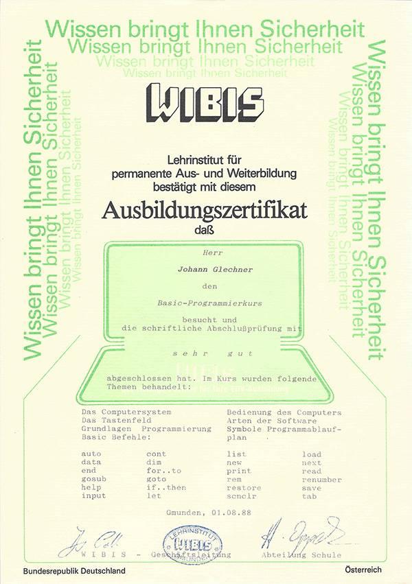 Ausbildungszertifizierung 1 Johann Glechner