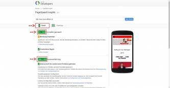 PageSpeed Mobil neu 91 von 100 alt /100 von 100